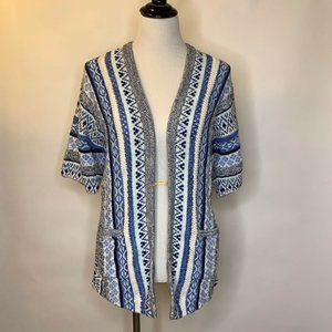 Lucky Brand Open Cardigan Sweater Knit Blue S
